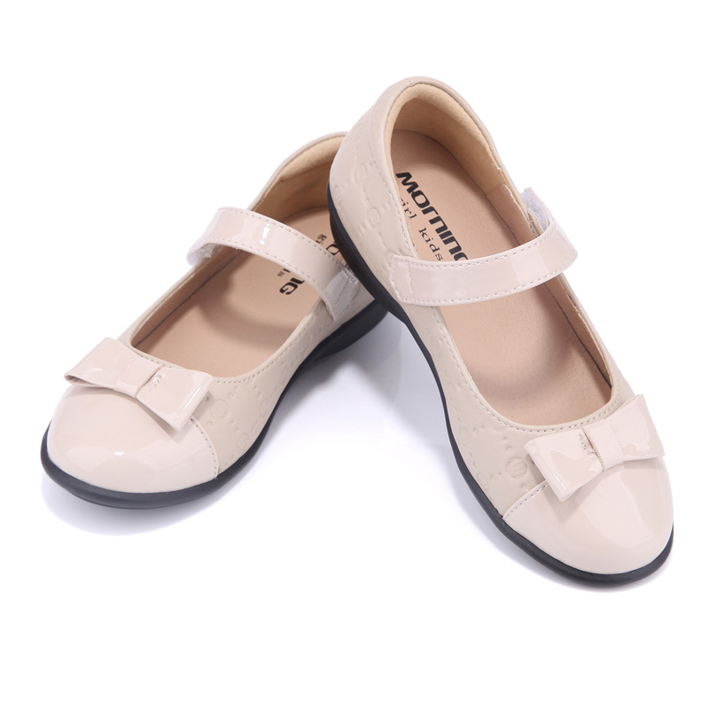 Girls shoes spring and autumn apricot splicing leather childrens shoes butterfly-knot ballet flats kids shoes<br>
