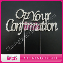 On Your Confirmation crystal rhinestone cake topper for cake decoration,Sliver/Gold Confirmation Clear Cake Topper,FREE SHIPPING