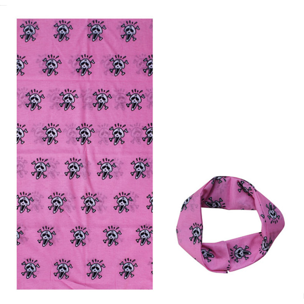 Multifunctional sports fashion travel headband seamless neck scarf sunscreen scarf pink skull head(China)
