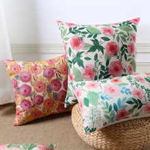 Watercolor Painting Pastoral Flowers Tree Leaves Cushions Covers Peach Flower Blossom Cushion Cover Linen Cotton Pillow Case(China)