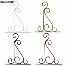 4 Colors Wrought Iron Art Hooks Hanging Plant Stand Flower Pot Hooks Holder Classic Romantic Landscaping Bathroom Garden Decor(China)