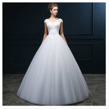 Buy LAN TING BRIDE A-Line Wedding Dress V-neck Floor Length Tulle Bridal Gown Beading Pearl Appliques Criss-Cross Casamento for $132.90 in AliExpress store