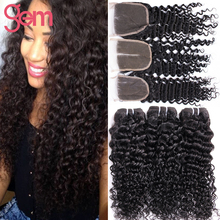 Brazilian Curly Virgin Hair with Closure 4 Bundles Cheap Brazilian Deep Curly Weave with Closure 6A Unprocessed Curly Human Hair
