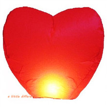 5pcs/lot Wedding Heart Shape Red Sky Lanterns For Birthday Parties Celebrations Memorials Funerals Decoration(China)