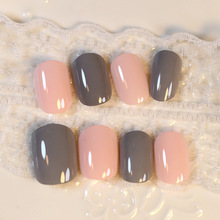 Hot Candy 24 Pcs Orange Grey Fake Nails Oval Short Artificial Nails Full Cover with Glue Sticker Faux Ongles
