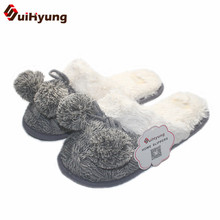 Buy Suihyung Winter Women's Cotton Slippers Hairball Gray Knit Indoor Slippers Plush Warm Home Slippers Non-slip Bedroom Floor Shoes for $13.59 in AliExpress store