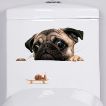 Funny Dog Sticker Wall Sticker Home Decor Dog Toilet Sticker for Bathroom Refrigerator Sticker Home Decoration Cute Animal(China)