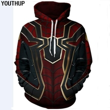 YOUTHUP 2018 Nova Moda Hoodies Homens 3D Imprimir Moletom Com Capuz Homens Partes Superiores Legal Cosplay Spiderman Bordado Streetwear Plus Size(China)