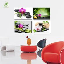 Unframed Modern 4pcs Melamine Sponge Board Canvas Oil Painting SPA Zen Stone Flower Pictures Landscape Room Decor Wall Art Paint