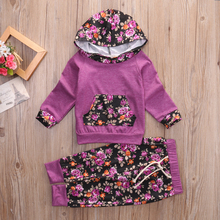 Floral Baby Girls Warm Infant Clothes Purple Hooded Tops Pants 2PCS Outfits Set