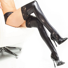 Buy 2018 New Sexy Latex Stockings Lady's Black PVC Pole Dance Lace Stockings Leather Erotic Clubwear Length 85cm Micro Mini Stocking