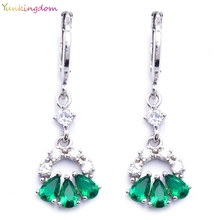 Yunkingdom Wholesale/retail drop earrings green Cubic Zirconia white gold color hiphop earrings for women K1410