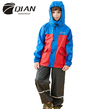 QIAN RAINPROOF Impermeable Raincoat For Children Lovely Kids Rainwear Elastic Hood Pattern Strap Rain Coat Kids Rain Gear Poncho