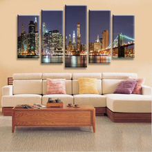 Home Decor Modular Wall Paintings 5 Pcs Manhattan Brooklyn Bridge Modern Poster Oil Painting on Canvas Pictures For Living Room