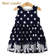 Bear Leader Brand Dress 2017 New Casual Summer Style Girls Dress Sleeveless Dot Printing Princess Dress Kids Clothes Party Dress(China)