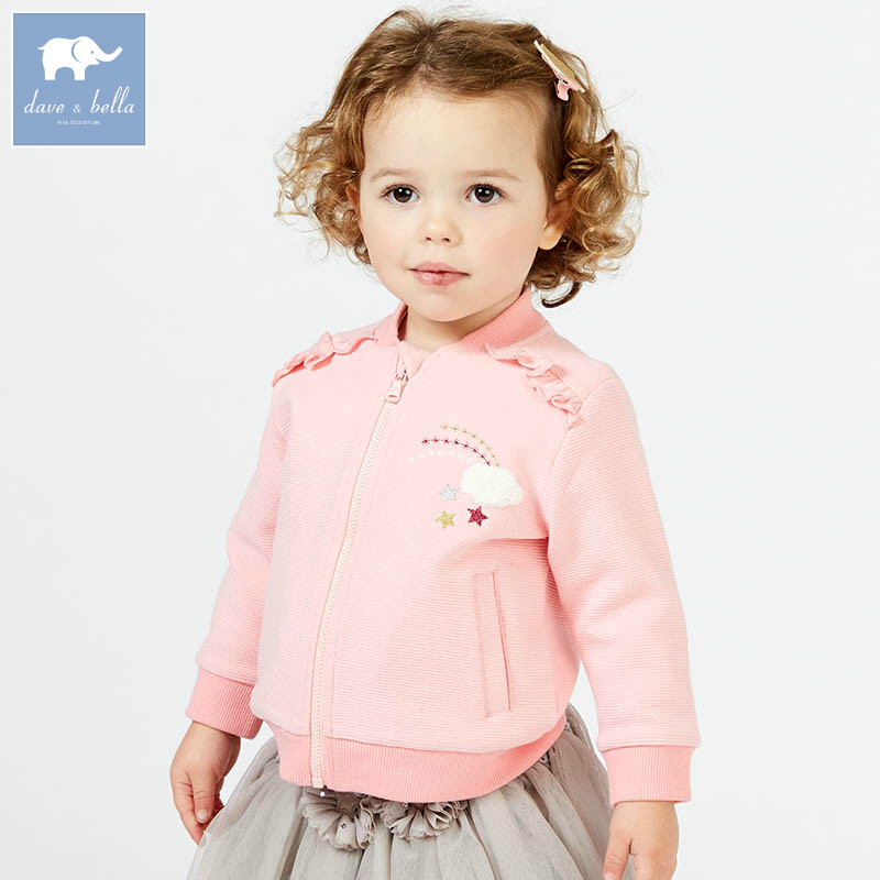 DBJ7336 dave bella spring infant baby girl fashion pink  print coats children cute top kids  high quality clothes<br>
