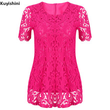New Summer XXL Top Women Retro Crochet Blouse Lace Sheer Shirts Tops Vestidos Blusas Femininas Blouses White Black Blue(China)