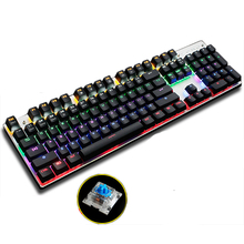 Gaming Mechanical Keyboard Colorful Backlight Anti-ghosting Blue/Black/Red Switch 87/104 Keys USB Wired Computer Keyboard(China)