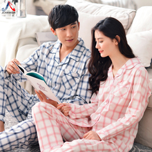 JCVANKER Couples Pajamas Set For Women Men Spring Autumn Full Sleeve Pants Cotton Sleepwear Plaid Pattern Pyjamas Suit Homewear