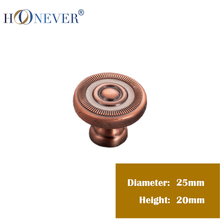 5PCS Cabinet Handle And Knobs Continental Knobs And Handle Zinc Alloy Red Bronze Kitchen Drawers Handle And Knobs 25 x 20mm