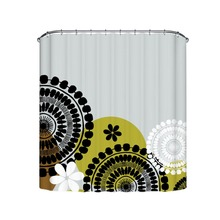 Gear Wheel Pattern and  Multiple Color Flowers Gray Waterproof and Mould Proof  Shower Curtain Alternatives Size with Hooks