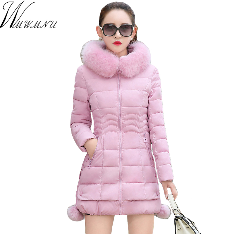 Wmwmnu 2017 Autumn &amp; Winter Women Parka Outerwear Jacket With Fur Collar slim thick Hooded Women Parkas Coats ls572Îäåæäà è àêñåññóàðû<br><br>