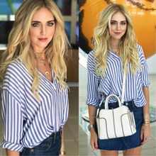 New Sexy Fashion Women Ladies V-neck Striped Shirt Summer Loose Casual Cotton Long Sleeve Shirt Tops Blouse European UK STOCK(China)