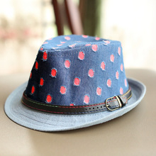 10pcs free shipping/2017-A418 summer Cowboy fabric belt decoration kids fedoras hat children jazz hat outdoor leisure cap(China)