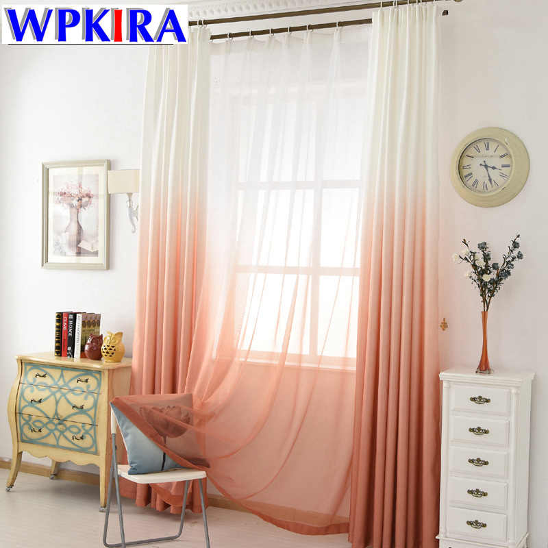 Modern Decoration Window Curtains for Living Room Gradient Green Curtain Bedroom Drapes Kids Sheer Orange Kitchen Tulle WP185-30
