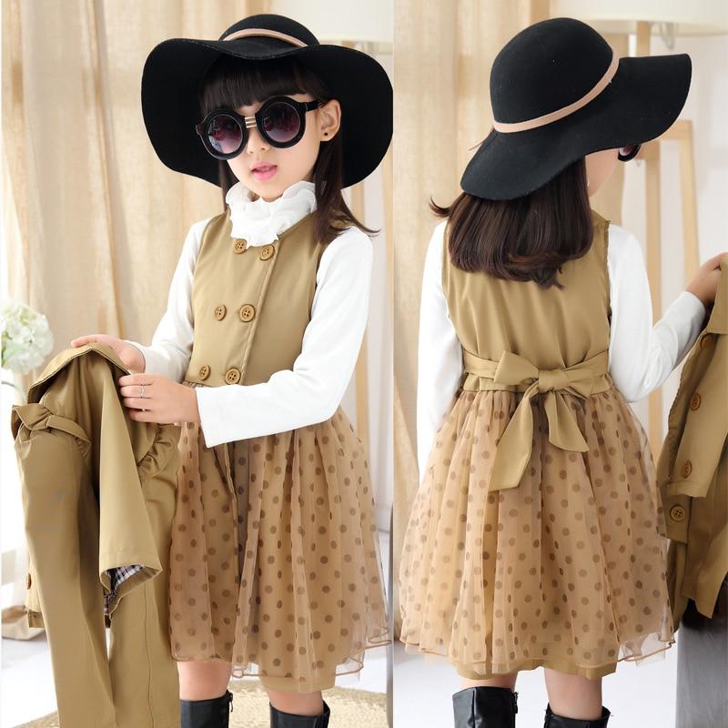 Girls Tutu Dress Set Fashion Girls Autumn Dot Mesh Dress Layered Polka Dot Sleeveless Dress+Short Trench Coat Kids Clothing Set<br>