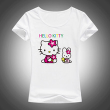 2017 New Lovely Hello Kitty cartoon t shirts women summer cool cute shirt Brand Good quality comfortable casual tops F58