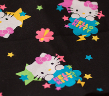 CF5 Lovely Hello kitty black stars cotton fabric for pajamas pillowslip quilt yard cloth bedding