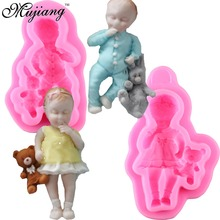 2Pcs/Set 3D Barbie Doll Bear Silicone Cake Mold Cupcake Chocolate Baking Moulds Baby Party Fondant Cake Decorating Tools