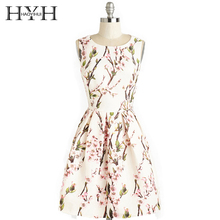 HYH HAOYIHUI  Women Floral Print Sweet Elegant Vintage Style Sleeveless Cut Out Backless Slash neck A-Line Slim Short Dress
