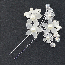 Elegant Wedding Hair Jewelry Crystal Imitated Pearl White Flower Hair Pins Charm Handmade Bridal Hair Accessories Hair Ornaments(China)