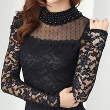 New fashion Women's Shirts Spring Stand Pearl Collar Lace Crochet Blouse Shirts long sleeve sexy tops Black/White Plus siz