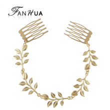 FANHUA New Hair Jewelry Gold-Color Chain Leaf Design Hair Combs Hairwear For Fahsion Women