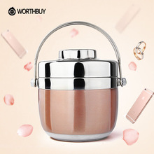 WORTHBUY Stainless Steel Lunch Boxs Thermal Japanese Bento Box Food Container Storage Portable Picnic Camping With Bag
