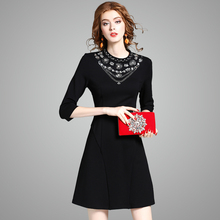 Casual Winter dress 2017 new High quality spring autumn Party Dress Fashion Trend Women Clothing gorgeous Beading free shipping(China)