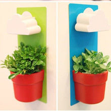 Creative Cloud Rainy Green Plant with Pot and Rich Soil Office Wall Plants Mini plant for Children Lovely Rain Pot 26CM Hight(China)