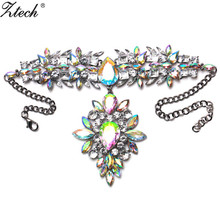 Luxury Elegant Europe Style Jewely For Women Flower Alloy Chocker Necklace Fully jewelled Vintage Choker Necklace Collier Femme(China)