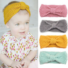 New Knit Headband Crochet Top Knot Elastic Turban Hairband Baby Girl Head Wrap Ears Warmer Headwear Girls Headbands(China)