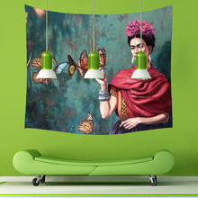 Smiry Short Plush Tapestry Frida Kahlo Printing 150X130cm Decorative Wall Hanging Yoga Rugs Beach Towel Home Textile tapete(China)
