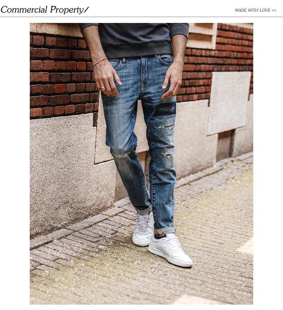 SIMWOOD 17 Autumn New Jeans Men Hole Ripped Slim Fit Denim Trousers Biker Jeans Skinny Brand Clothing High Quality NC017031 5