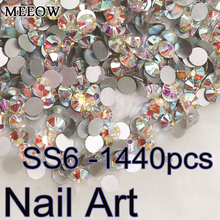 Nail Art Rhines Small size SS6 1440pcs Round Flatback Crystal AB Nail Art Rhinestones For DIY Nails Art Cell Phone And Clothes(China)