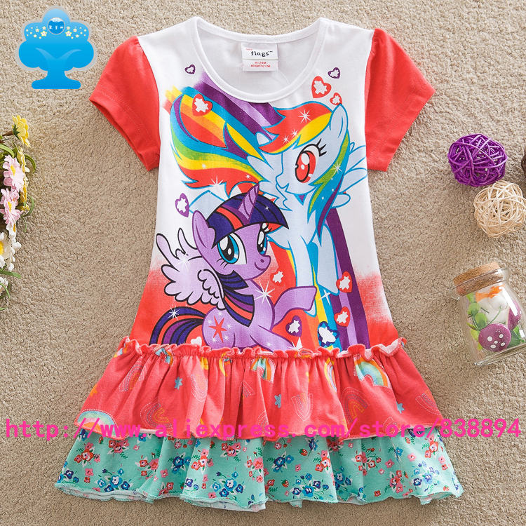 flags 5pcs/lot 2015 New baby girls my little pony Fashion princess flower dress summer Legging casual for kids children Q9109#<br><br>Aliexpress