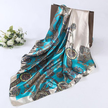2017 Hot Sale Satin Square Scarf For Women Floral Printed Scarves For Ladies Women Polyester Scarves 90*90cm 5 Colors #1201