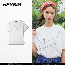 concise Stick Figure t-shirt 17SS HEYBIG modern street tee shirts Asian mens size Tops cartoon kitten cotton regular fit tshirts