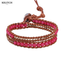 KELITCH Brand Jewelry Custom Made LOGO Red Beaded Multilayers Handmade Silver Beads Women Bracelet For Holidays Nice Box Package(China)