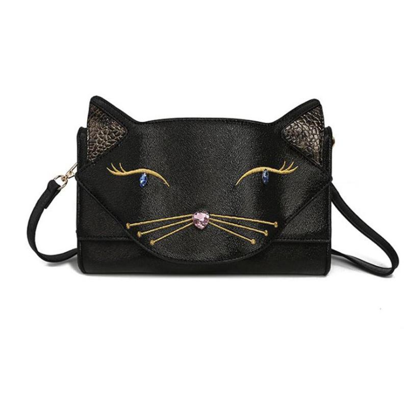 3D Cute Cat Cartoon Ladies Handbag Embroidery Black Color Cat Pattern Shoulder Bags Message Diamond Luxury Crossbody Girls BagY2<br>